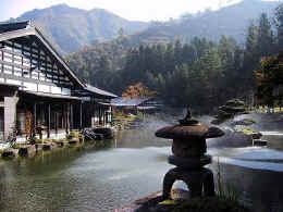 Ryokan and pond