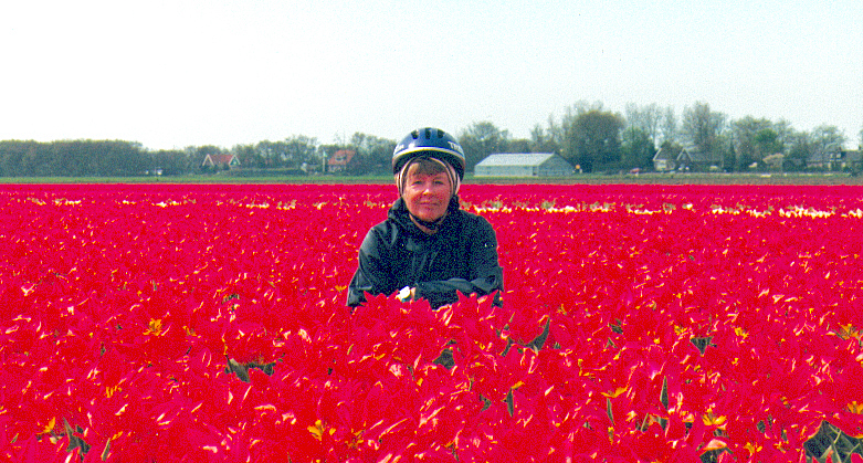 Carol in tulip field, Holland