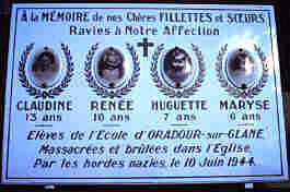 Plaque in Oradour cemetery