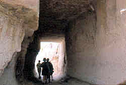 Hiking in Cappadocia, ancient hand hewn tunnel
